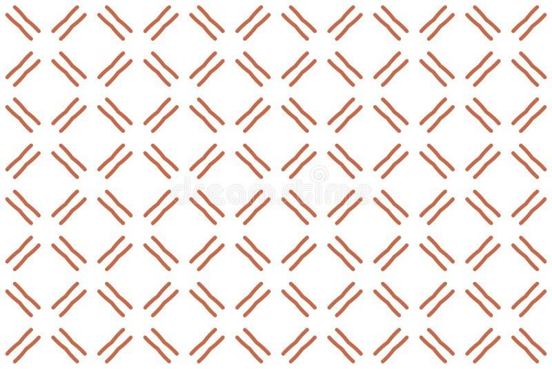 Naadloos patroon Witte achtergrond, diagonale dubbele lijnen in bruine kleur vector illustratie