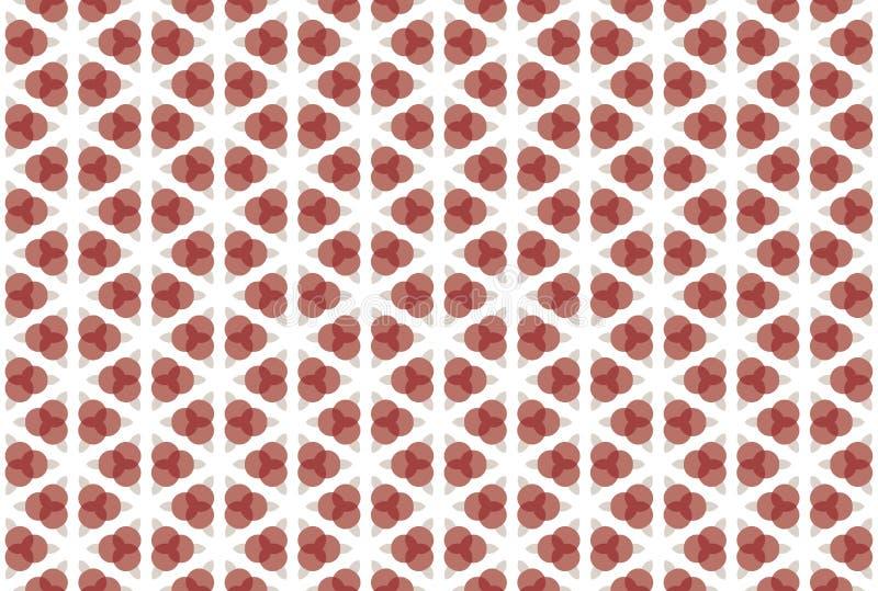 Naadloos patroon Witte achtergrond, geometrisch, gestalte gegeven drie overlappende cirkels, rond gemaakte diamanten in licht en  vector illustratie