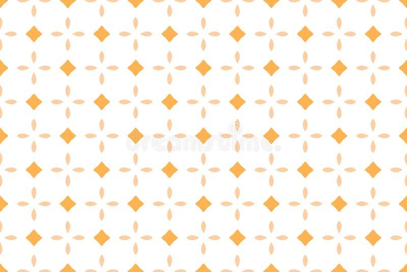Naadloos patroon Witte achtergrond, gestalte gegeven bloem en vierkant in bruine, gele tinten royalty-vrije illustratie