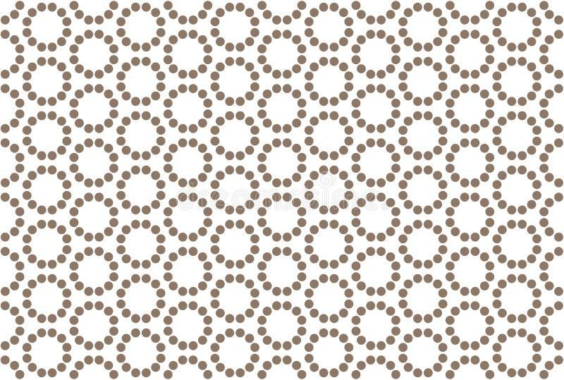 Naadloos patroon Witte achtergrond, gestalte gegeven gestippelde cirkel in bruine kleur stock illustratie