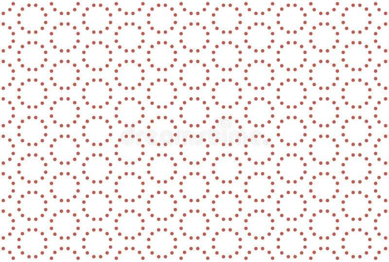Naadloos patroon Witte achtergrond, gestalte gegeven gestippelde cirkel in rode kleur vector illustratie