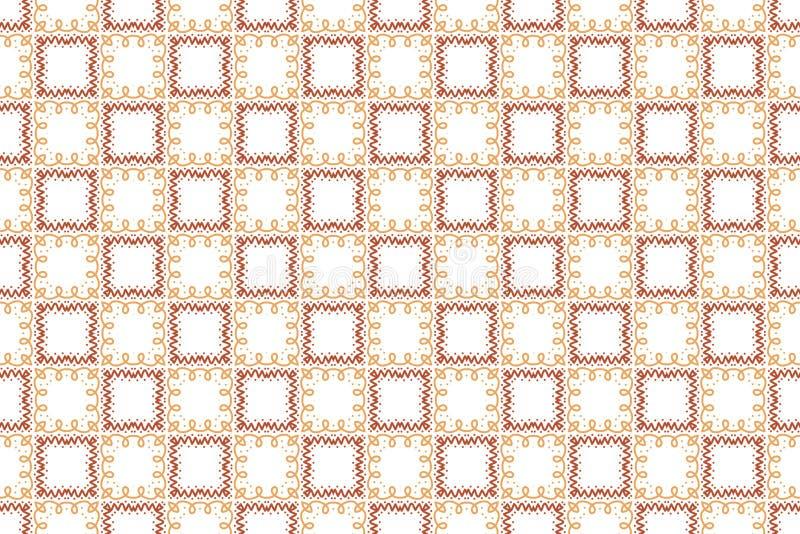 Naadloos patroon Witte achtergrond, gestalte gegeven vierkante en golvende lijnen met punten in bruine kleurentonen stock illustratie