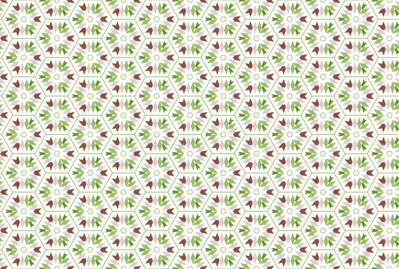 Naadloos patroon Witte achtergrond, gestalte gegeven zeshoek, driehoeken en pijlen in bruine, grijze, lichte en donkergroene kleu vector illustratie