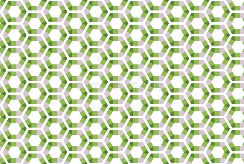 Naadloos patroon Witte achtergrond, gestalte gegeven zeshoeken, driehoeken en sqaures in grijze donkere en lichtgroene kleuren vector illustratie