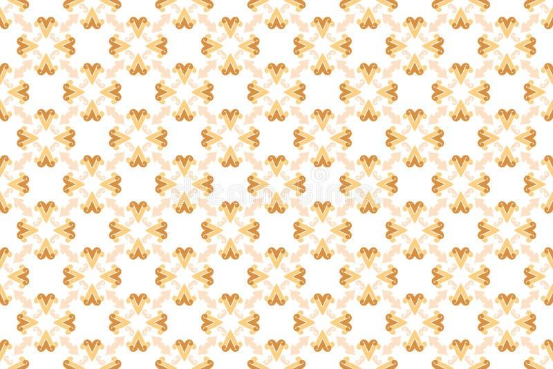 Naadloos patroon Witte achtergrond, gevormde bloem, in bruine en gele tinten royalty-vrije illustratie