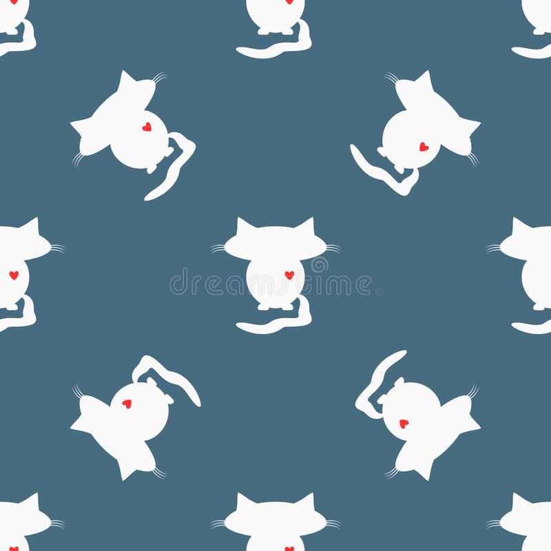 Naadloos patroon Witte silhouetten van katten met grote hoofden en rode harten royalty-vrije illustratie