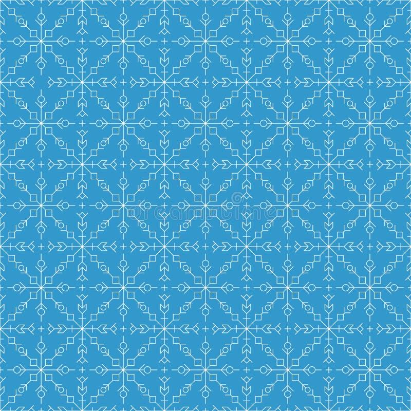 Naadloos patroon Witte silhouetten zoals de cijfers van sneeuwvlokken royalty-vrije illustratie