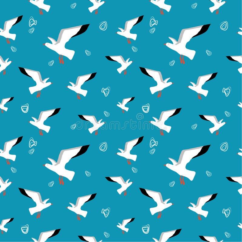 Naadloos patroon: zeemijlen en doodles op een blauwe achtergrond royalty-vrije illustratie