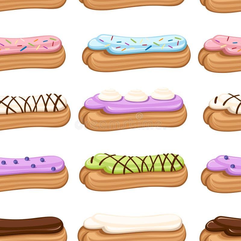 Naadloos patroon Zoet en yummy roomeclair dessert Chouxgebakje met room wordt gevuld die Vlakke illustratie op wit stock illustratie