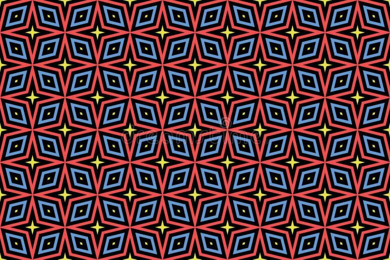 Naadloos patroon Zwarte achtergrond, gevormde sterren en diamanten in gele, rode en blauwe kleuren vector illustratie