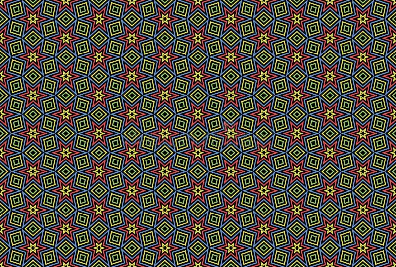Naadloos patroon Zwarte achtergrond, gevormde sterren en diamanten in groene, gele, blauwe en rode kleuren royalty-vrije illustratie