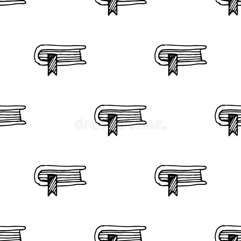 Naadloos patroonhand getrokken boek met een referentiekrabbel Het pictogram van de schetsstijl Genomen in Genua, Itali? Ge?soleer stock illustratie
