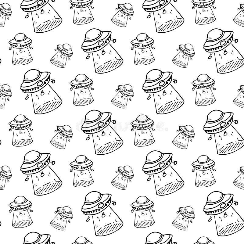Naadloos patroonhand getrokken UFO Krabbel zwarte schets Tekensymbo royalty-vrije illustratie