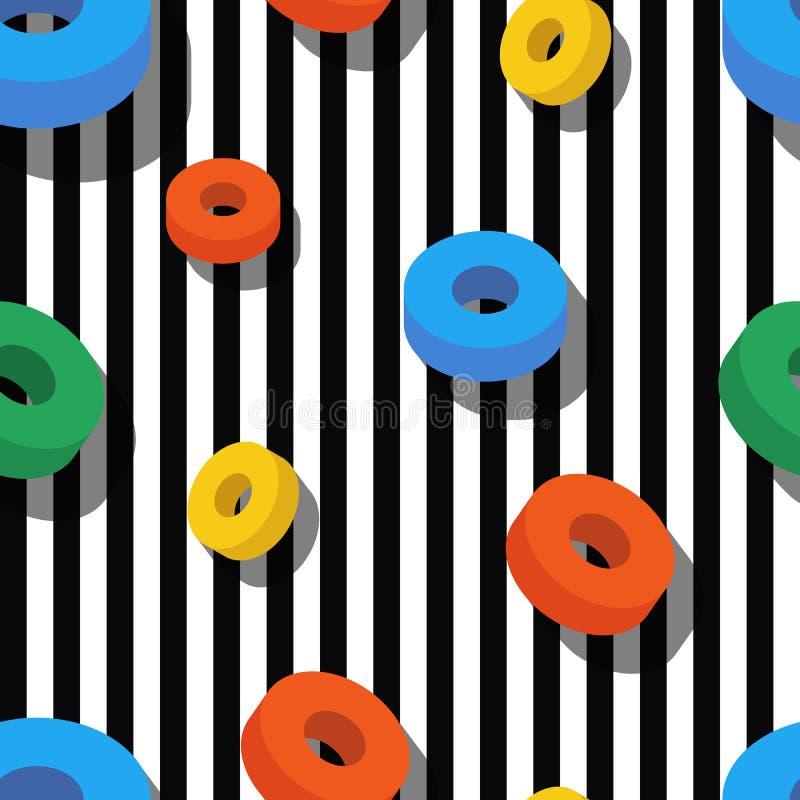Naadloos patroonpatroon met kleurrijke ringen op zwart-wit royalty-vrije illustratie