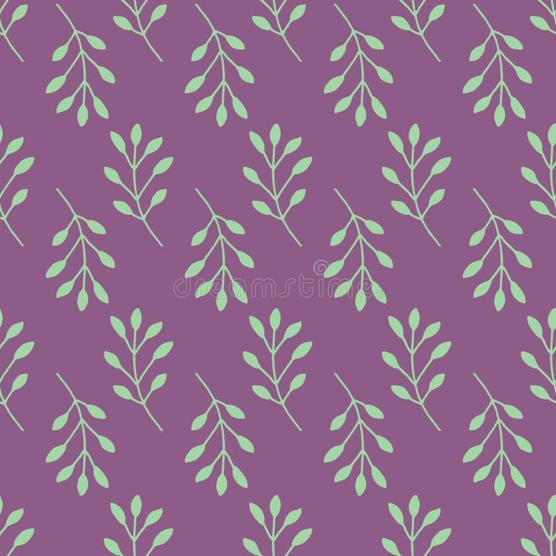 Naadloos patroonviooltje met bloemenelementen groene takken stock illustratie