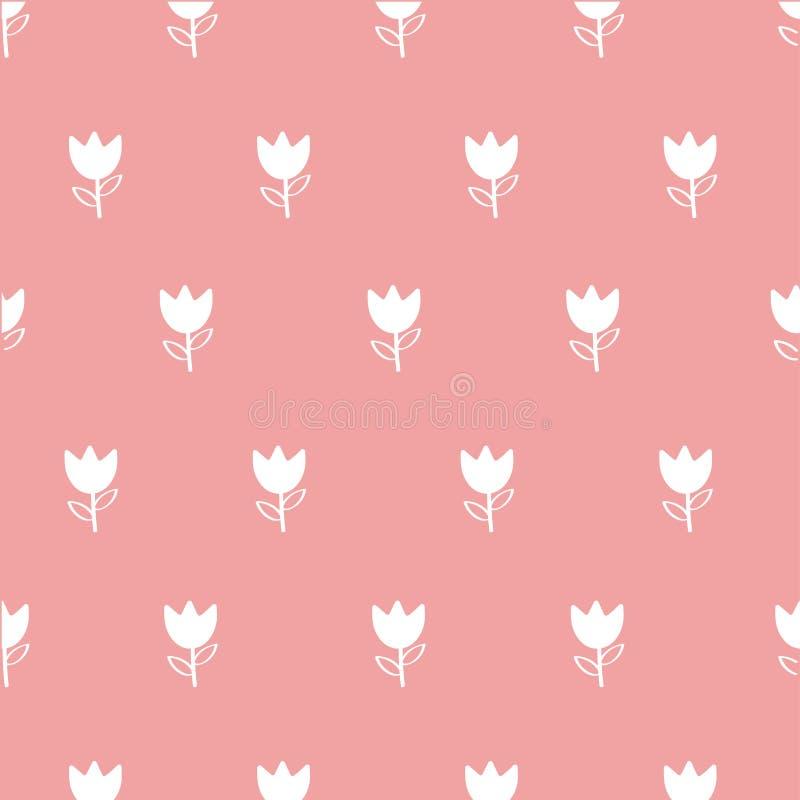 Naadloos patroonwit bloem-1 stock illustratie