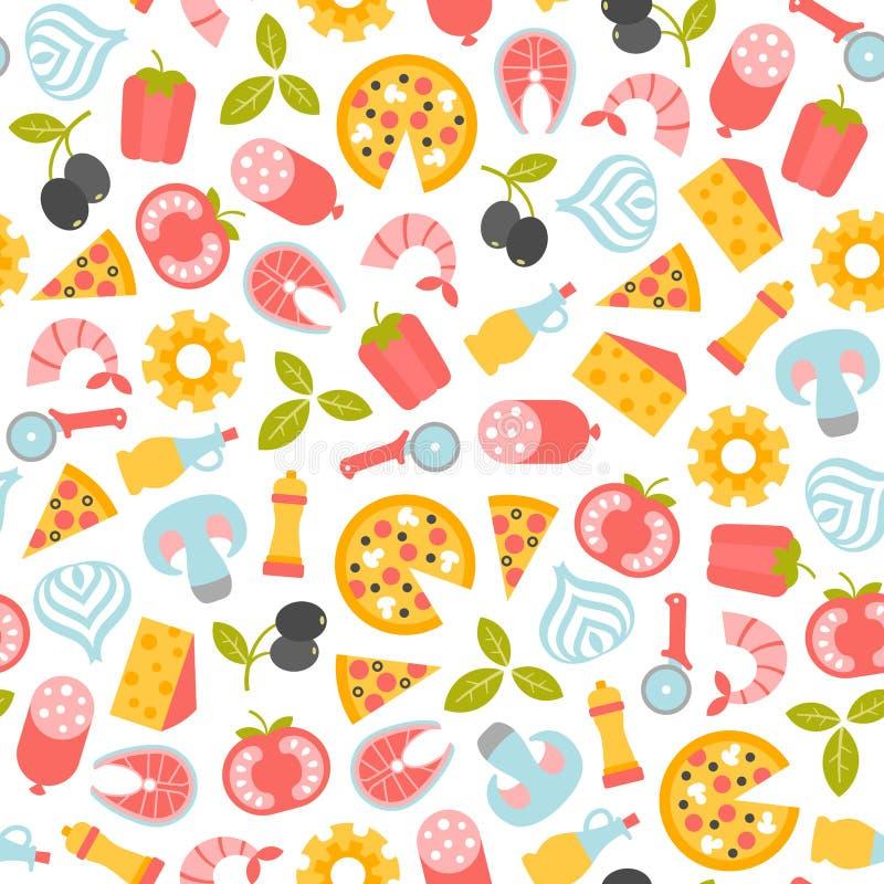 Naadloos pizzapatroon vector illustratie