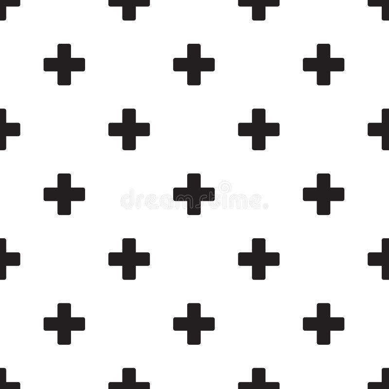 Naadloos plustekenpatroon op wit stock illustratie