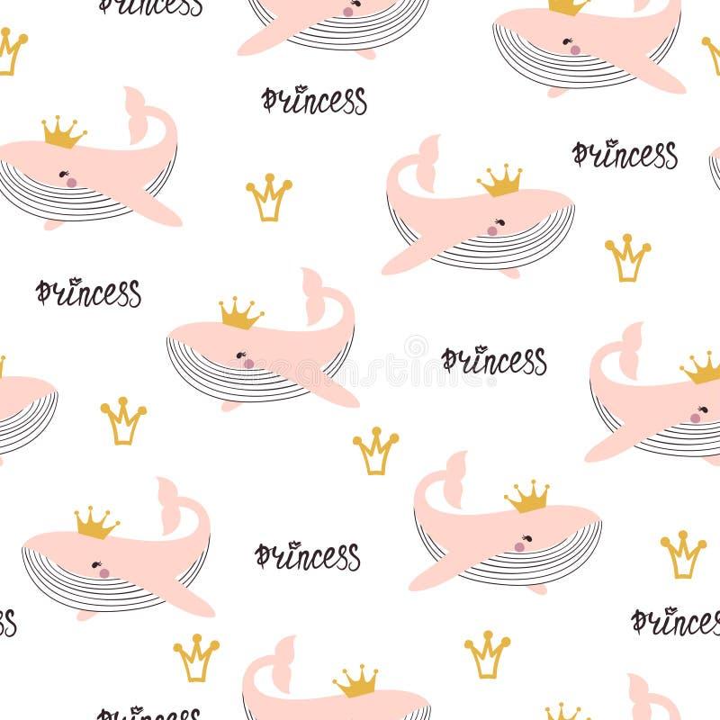 Naadloos prinsespatroon Babydruk met leuke roze walvissen stock illustratie