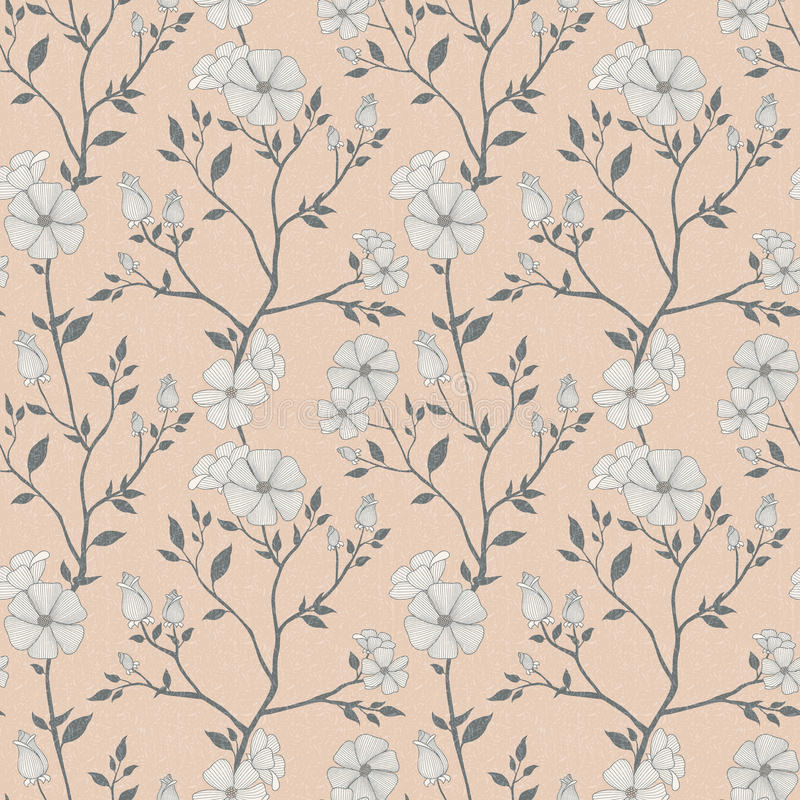 Naadloos retro bloemenpatroon stock illustratie