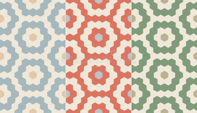 Naadloos retro hexagon mozaïekpatroon met textuur Naadloze geometrische achtergrond stock illustratie