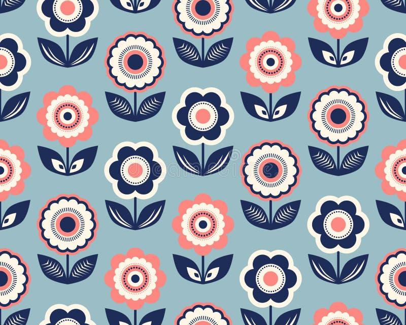 Naadloos retro patroon met bloemen stock illustratie