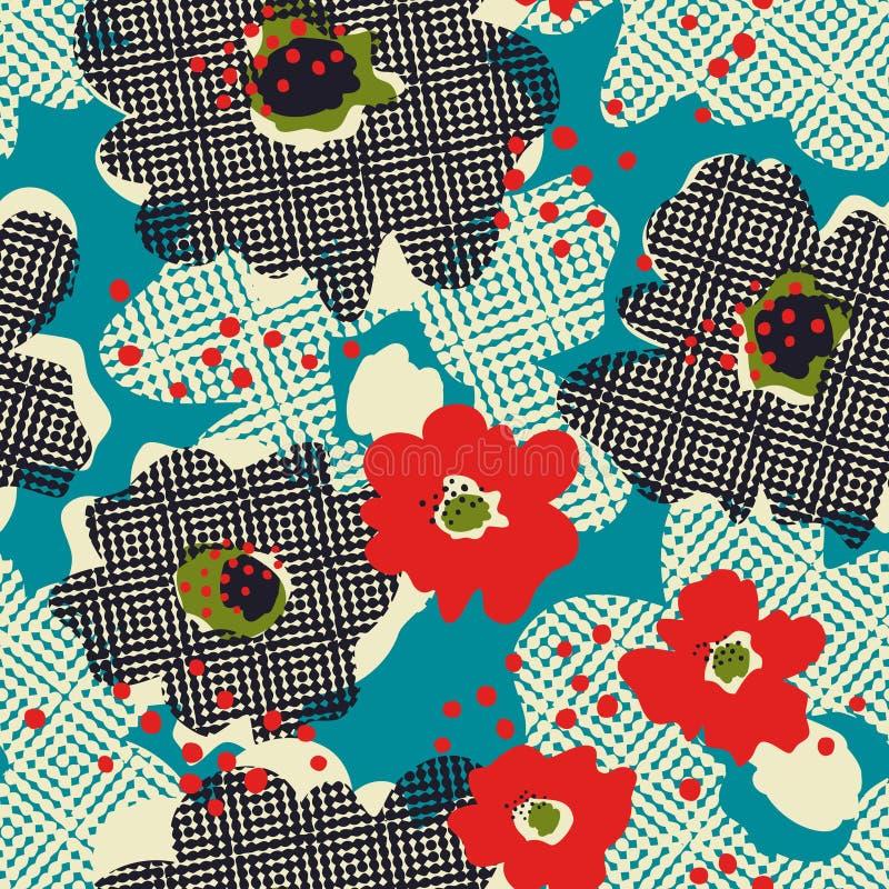 Naadloos retro patroon met bloemen royalty-vrije illustratie
