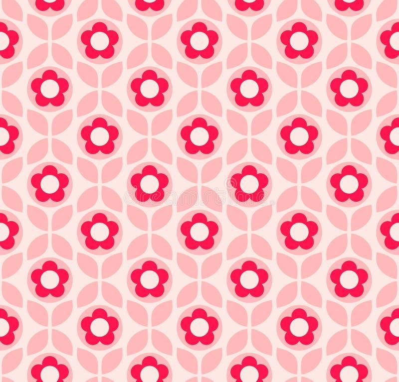 Naadloos retro patroon met bloemen en bladeren vector illustratie