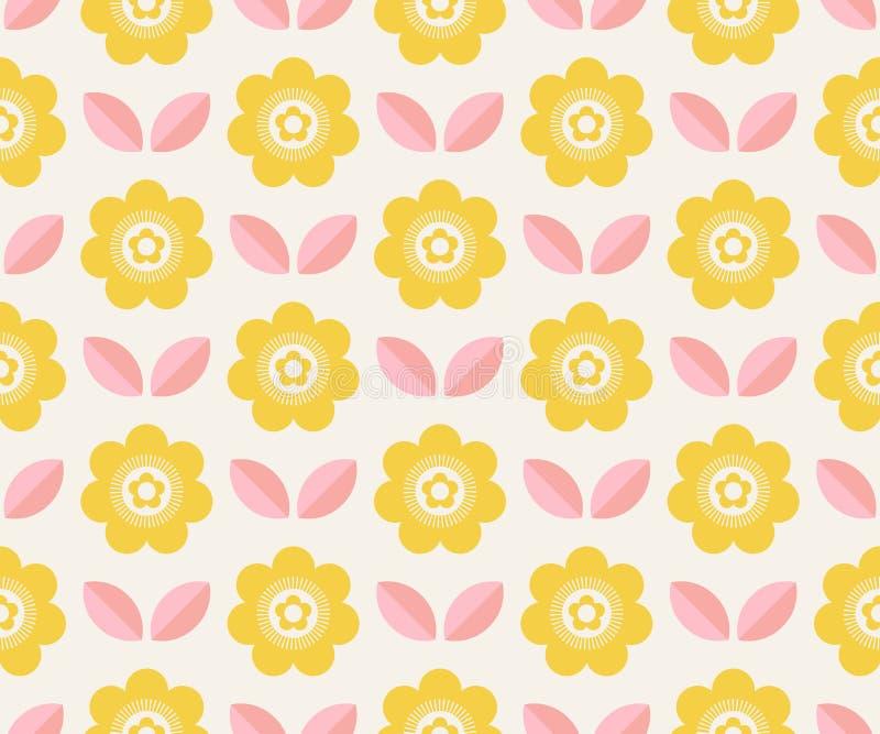 Naadloos retro patroon met bloemen en bladeren stock illustratie