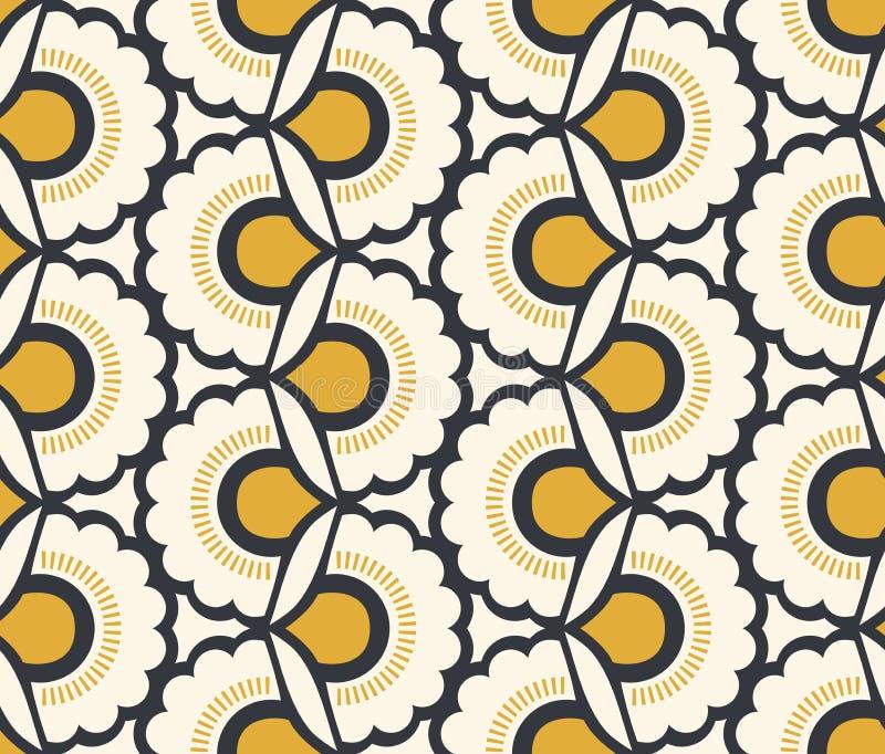 Naadloos retro patroon met bloemenelementen vector illustratie