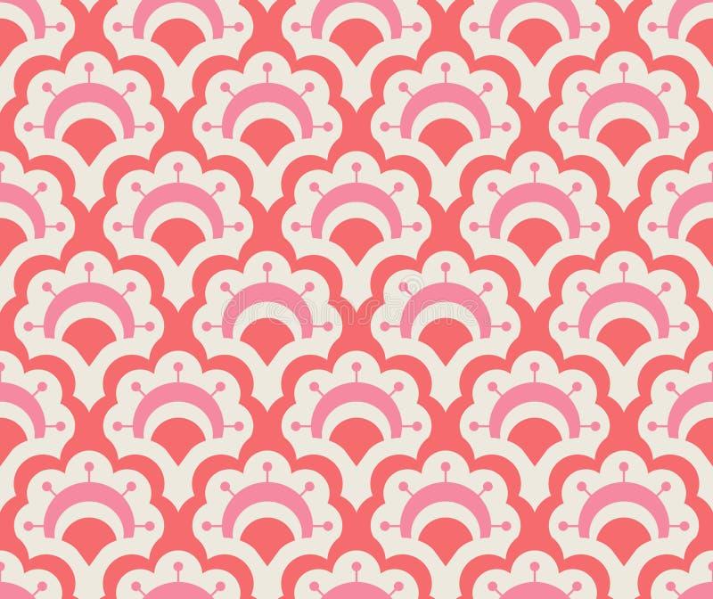 Naadloos retro patroon met bloemenelementen stock illustratie