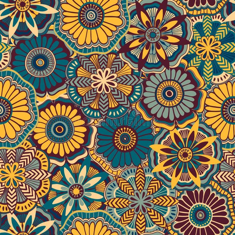 Naadloos retro patroon van decoratieve krabbelbloemen vector illustratie