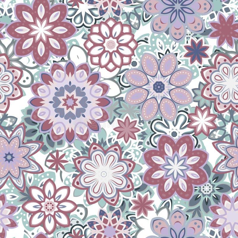 Naadloos retro van de caleidoscoopbloem patroon als achtergrond royalty-vrije illustratie