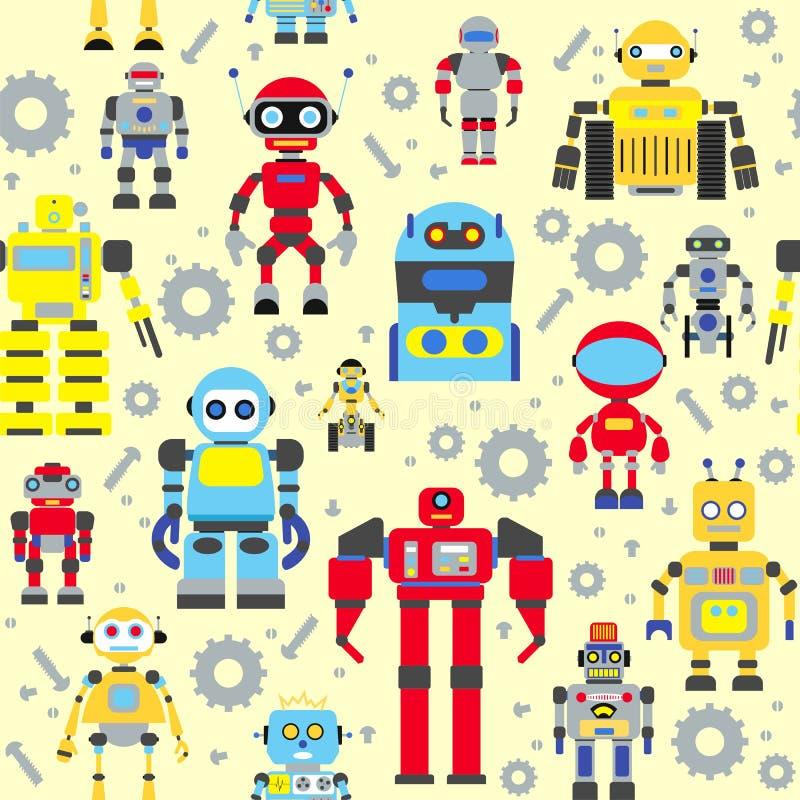 Naadloos robotspatroon vector illustratie