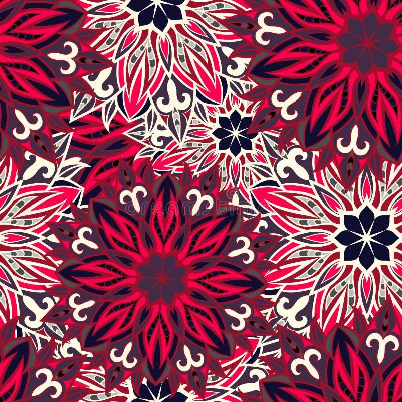 Naadloos rond ornamentpatroon Naadloos mandalapatroon stock afbeeldingen