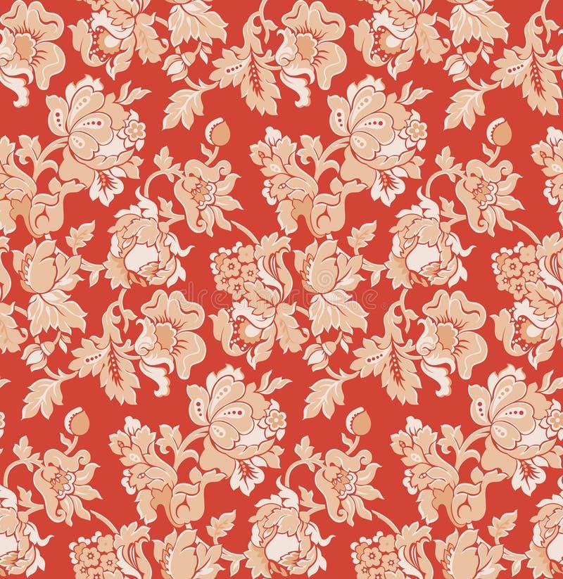 Naadloos Rood Barok Venetiaans Behang Royalty Vrije Stock Fotografie Afbeelding