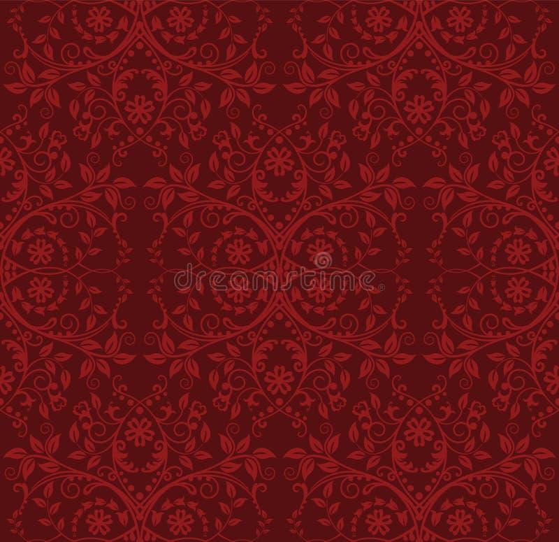 Naadloos rood bloemenbehang vector illustratie