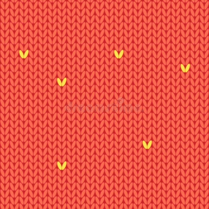 Naadloos rood gebreid patroon De stijl van het beeldverhaal stock illustratie