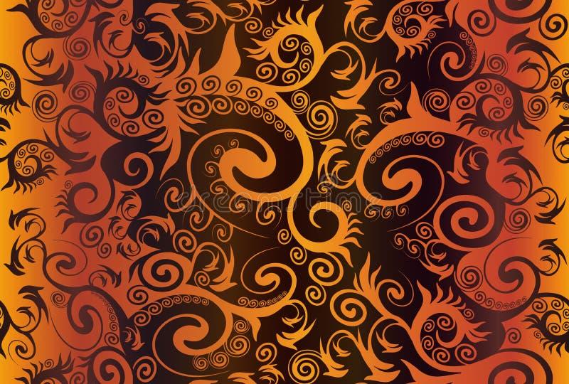 Naadloos roodbruin abstract ornament met complexe krullen vector illustratie