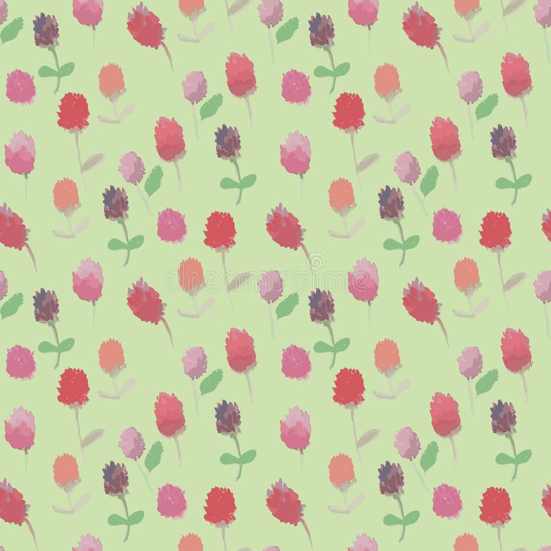 Naadloos roosterpatroon met rode en roze klaverbloemen op bleke achtergrond vector illustratie