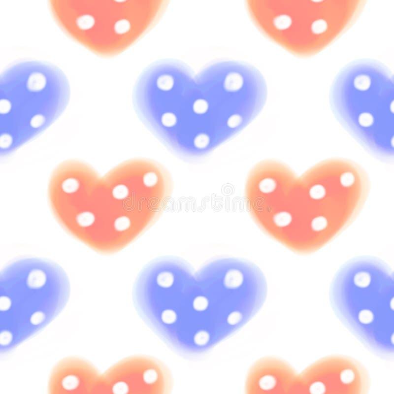 Naadloos Roosterpatroon Waterverfachtergrond met hand getrokken close-upharten met punten stock illustratie