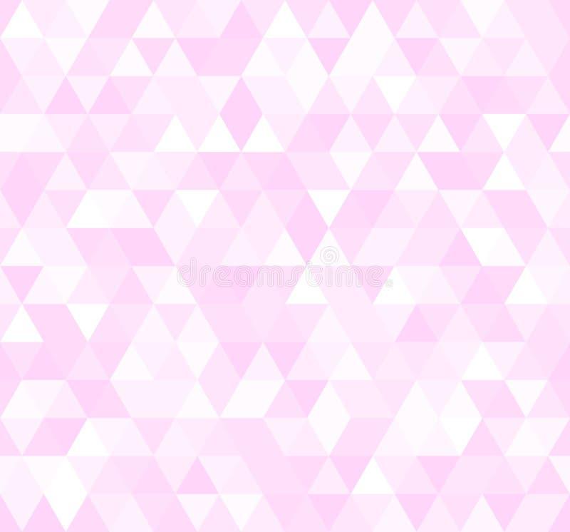 Naadloos roze abstract patroon Geometrische die druk uit driehoeken en veelhoeken wordt samengesteld Nam achtergrond toe vector illustratie