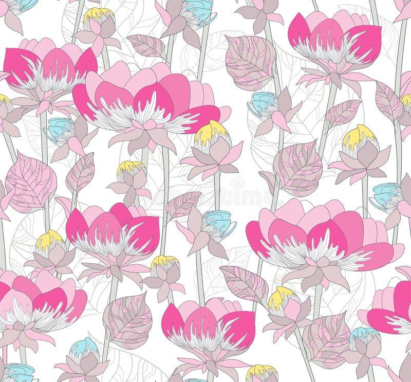 Naadloos roze patroon met bloemen royalty-vrije illustratie