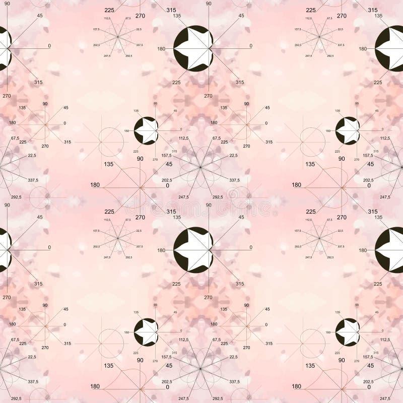 Naadloos roze patroon met zwart-witte wiskundige illustraties Algebraïsche percelen in vorm van bladeren en bloemen Wiskunde als  vector illustratie