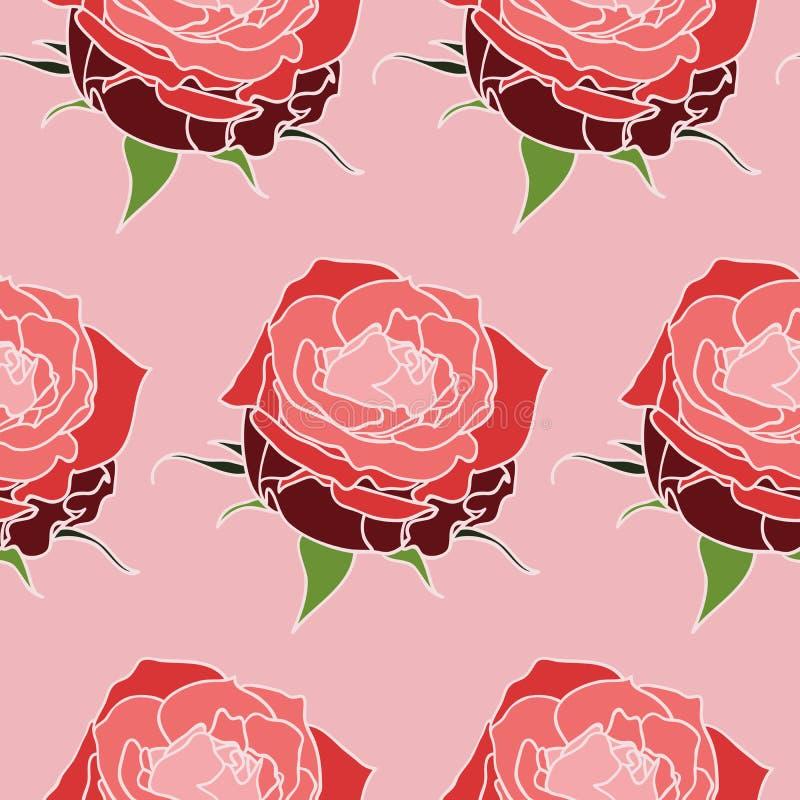 Naadloos roze rozenpatroon royalty-vrije stock foto's