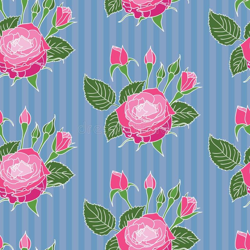 Naadloos rozenpatroon stock foto
