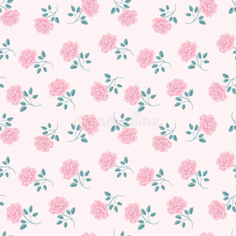 Naadloos rozenpatroon Uitstekende bloemenachtergrond royalty-vrije illustratie