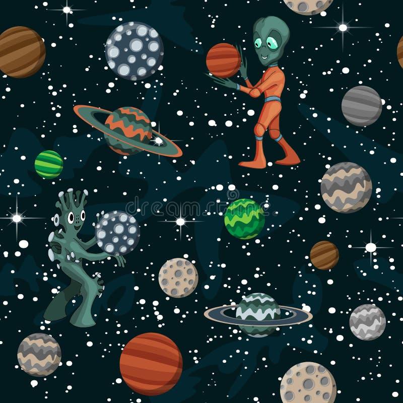 Naadloos ruimtepatroon met beeldverhaalplaneten, kinderachtige vector ruimteillustratie stock illustratie