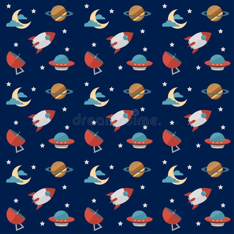 Naadloos ruimtepatroon met raketten, planeten, sterren, werkingsgebied, maan, waarnemingscentrum en anderen materiaal stock illustratie