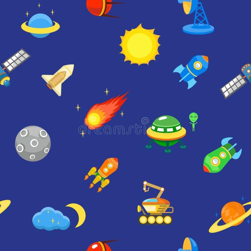 Naadloos Ruimtepatroon Planeten, raketten en royalty-vrije illustratie